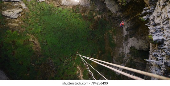First descend into vertical cave. leang pute, the deepest vertical cave in indonesia
