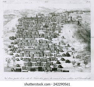 First European image of the African city Timbuktu by Rene-Auguste Caillie (1799-1838). Was the first European to return from Timbuktu, described in THE UNVEILING OF TIMBUCTOO, published in 1838.