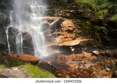 First fall of the Gocta waterfall in Amazonas.