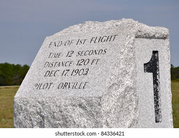 First flight landing marker at Wright Brothers National Memorial at Kill Devil Hills, NC, USA.  The memorial commemorates the first controlled powered flight in 1903.