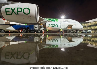 First flight to Pulkovo Airport. Boarding operations of Airbus 380 of Emirates, stays in LED Airport in St. Petersburg, Russia on october 25, 2018. Preparing for departure. EXPO 2020 DUBAI livery.