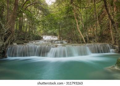 First floor of Huay Mae Kamin waterfall, Srinakharin National Park, Kanchanaburi, Thailand