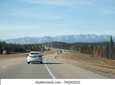a first glimpse of the canadian rocky mountains from the trans canada highway in Obed Hinton, Alberta  - Shutterstock ID 740263522
