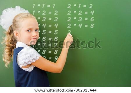 schoolgirl at the blackboard desktop