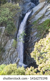 First high waterfall falling through the cliffs on Fonias river at Samothrace island in Greece