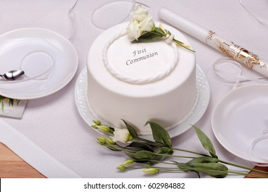 first holy communion cake on the table and space for text