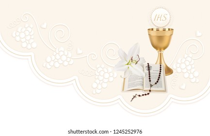 First Holy Communion, composition with a chalice, host,rosary, prayer book and lily flowers