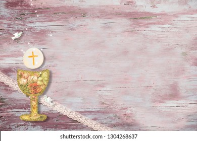 First Holy Communion invitations, chalice and dove on wooden background with empty space for text and photos