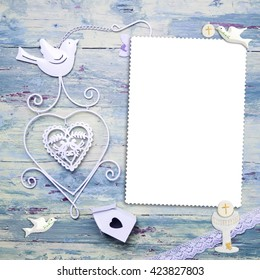 First Holy Communion vertical photo frame card for boy, christian symbols