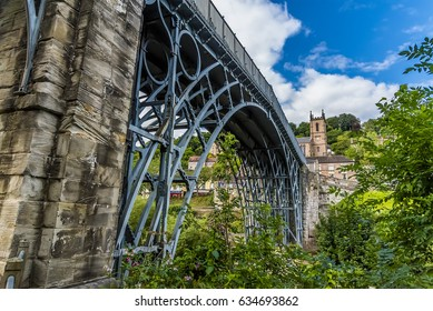 The first iron bridge ever built in the town that bears its name, Ironbridge, Shropshire. UK