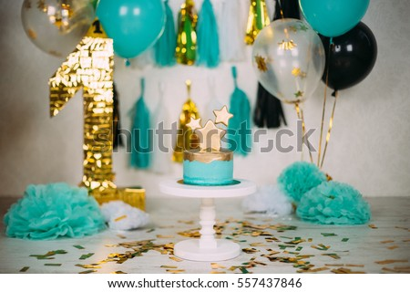 First Kid Birthday Decorations With Cake Balloons And Big Figure 1 Candy Bar