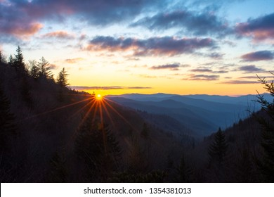 First light breaks over the Oconaluftee Valley in the Great Smok