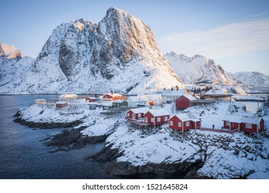 The first light of the early morning sun.  Lofoten, Norway