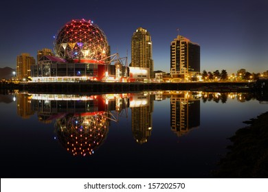 First Light False Creek Dawn, Vancouver. False Creek and the Vancouver skyline at dawn. The geodesic dome is a local landmark. British Columbia, Canada.