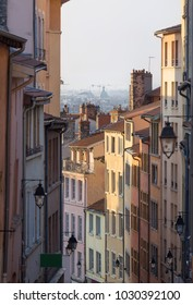 First light in an old and colorful street in Croix Rousse, Lyon, France.