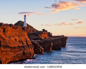 First Light on Castlepoint Lighthouse, Wairarapa, New Zealand