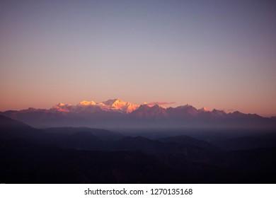First light on the Kanchenjunga Range