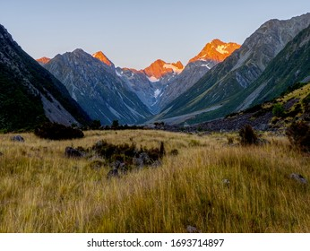 First Light on Mount D'Archiac at the head of the Forbes River Valley, Canterbury, New Zealand