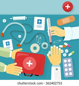 First medical aid kit design flat. Health and medical equipment, medicine and hospital, care and pill, healthcare and pharmacy, emergency and drug illustration. Raster version