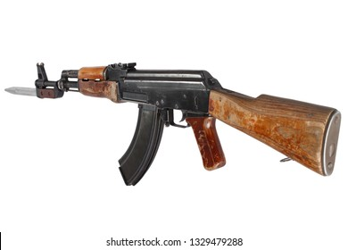 First model AK - 47 assault rifle with bayonet isolated on white