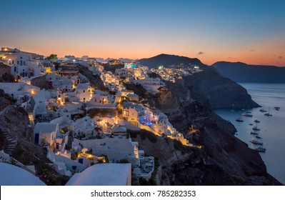 First morning light at Oia village