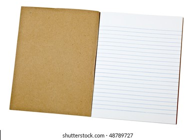 First page of a blank exercise book isolated on white background