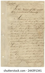 First page of Treaty of Paris 1783. It ended the American Revolutionary War between the Kingdom of Great Britain and the United States of and was signed on September 3. 1783 ratified January 14 1784.