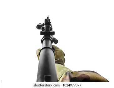 First person hand holding a rifle. Vr first person view of a soldier hand holding automatic rifle front view.