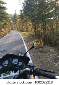 First person motorcycle riding in nature  motorbike ride