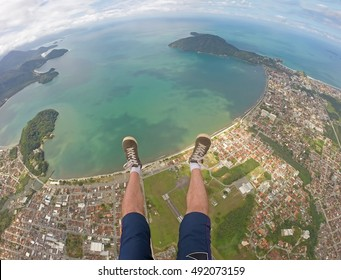First person perspective skydiving in Ubatuba - Brazil