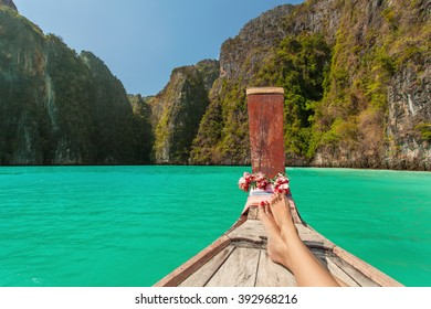 First person view from boat to a Pileh Lagoon in Ko Phi Phi Lee Thailand