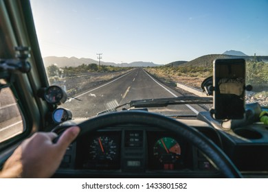 First person view driving an rv through american roads in Califronia