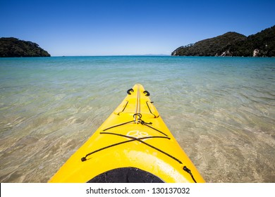 First person view kayaking through clear water