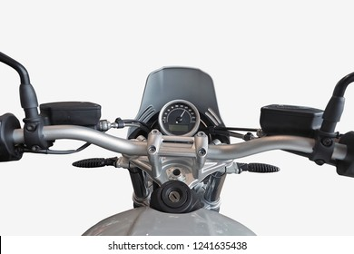 First person view motorbike or big bike isolated on white background with clipping path