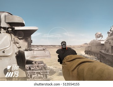 First person view soldier arm holding a gun. First person view soldier hand in black battle gloves  tactical jacket holding a ready to use gun on desert tank war scene with health  armor indicator.