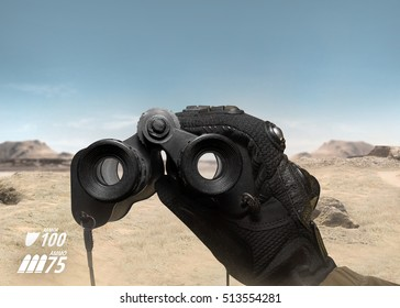 First person view soldier arm holding binoculars. First person view view soldier hand in black battle gloves & tactical jacket holding binoculars on desert war scene with health & armor indicator.