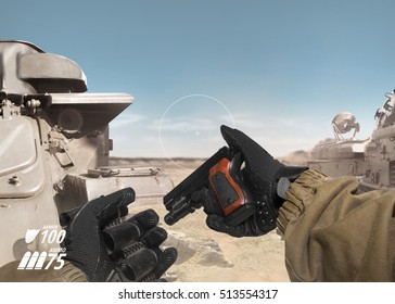 First person view soldier arm holding reloaded gun & cartridge belt. Soldier hand in gloves & tactical jacket holding gun & cartridge belt on desert tank war scene with health & armor indicator.