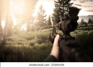 First person view of soldier on duty, photo realistic fps military game