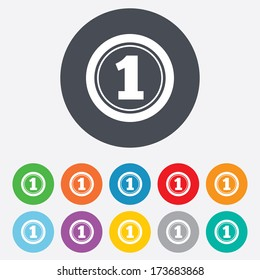 First place award sign. Winner symbol. Round colourful 11 buttons.
