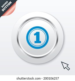 First place award sign. Winner symbol. White button with metallic line. Modern UI website button with mouse cursor pointer.