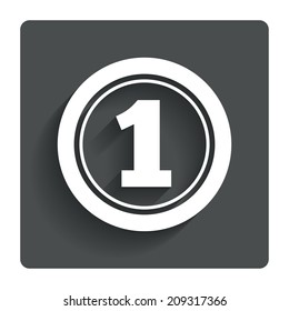 First place award sign. Winner symbol. Gray flat button with shadow. Modern UI website navigation.