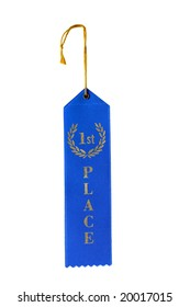 first place blue ribbon isolated on white