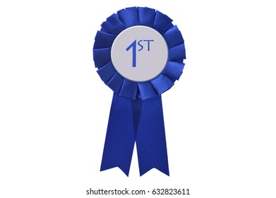 First Place Blue Ribbon isolated on white background