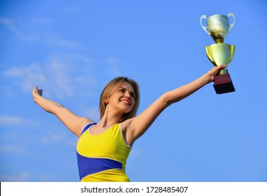 First place. Happy champion. Achievement. Successful athlete. Athletic woman happy leader. Sport motivation. Get thin and win. Sport success. Winner girl. Sport and health. Competition concept.
