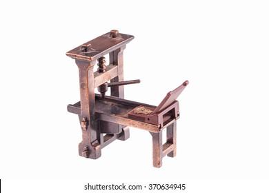 Erste Druckmaschine von Gutenberg einzeln