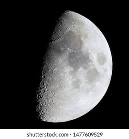 First quarter moon seen with an astronomical telescope, high resolution