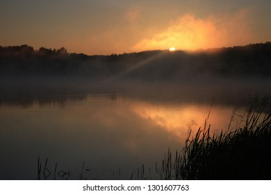 The first ray of the sun in the fog at the lake at sunrise