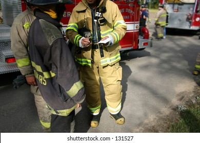 First responders: a group of firefighters working in a team to respond to the situation.