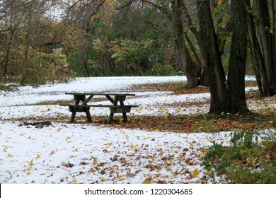First snow at the campground in autumn