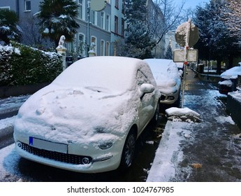 First snow in Frankfurt, Germany